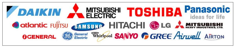 Marques pompe a chaleur-Atlantic, Auer, Daikin, De Dietrich, Frisquet, Mitsubishi, Panasonic, Saunier Duval, Technibel, Toshiba